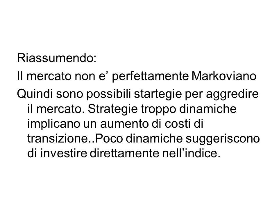 Riassumendo: Il mercato non e' perfettamente Markoviano Quindi sono possibili startegie per aggredire il mercato.