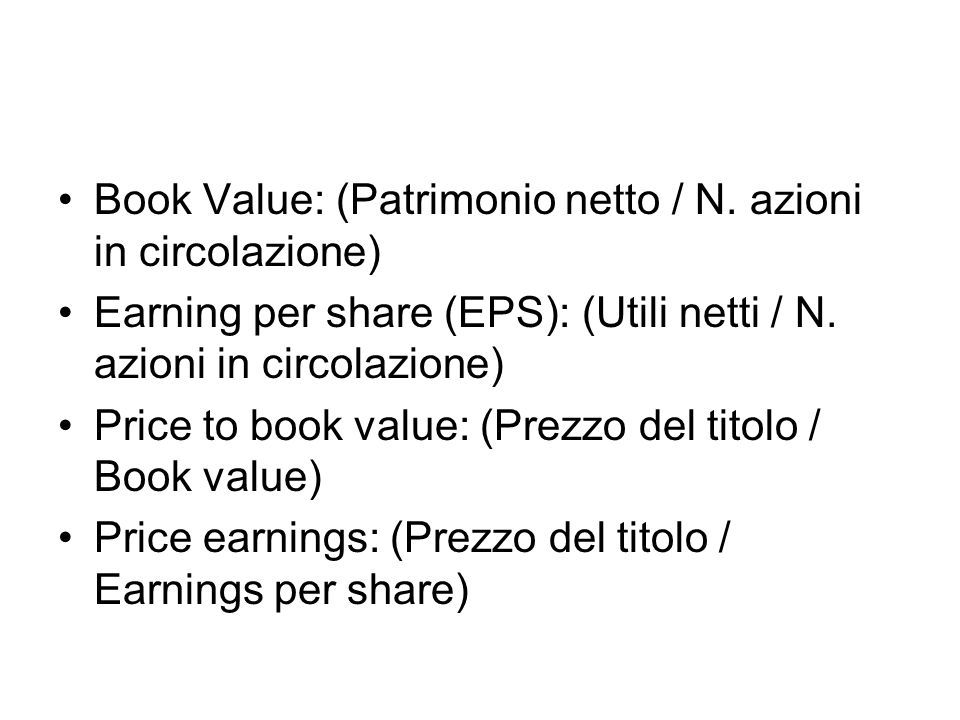 Book Value: (Patrimonio netto / N.