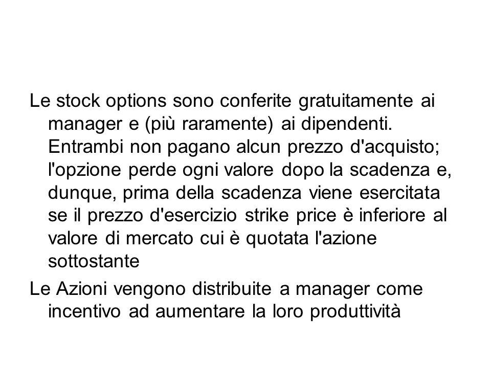 Le stock options sono conferite gratuitamente ai manager e (più raramente) ai dipendenti.