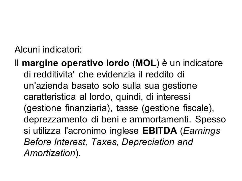 Alcuni indicatori: Il margine operativo lordo (MOL) è un indicatore di redditivita' che evidenzia il reddito di un azienda basato solo sulla sua gestione caratteristica al lordo, quindi, di interessi (gestione finanziaria), tasse (gestione fiscale), deprezzamento di beni e ammortamenti.