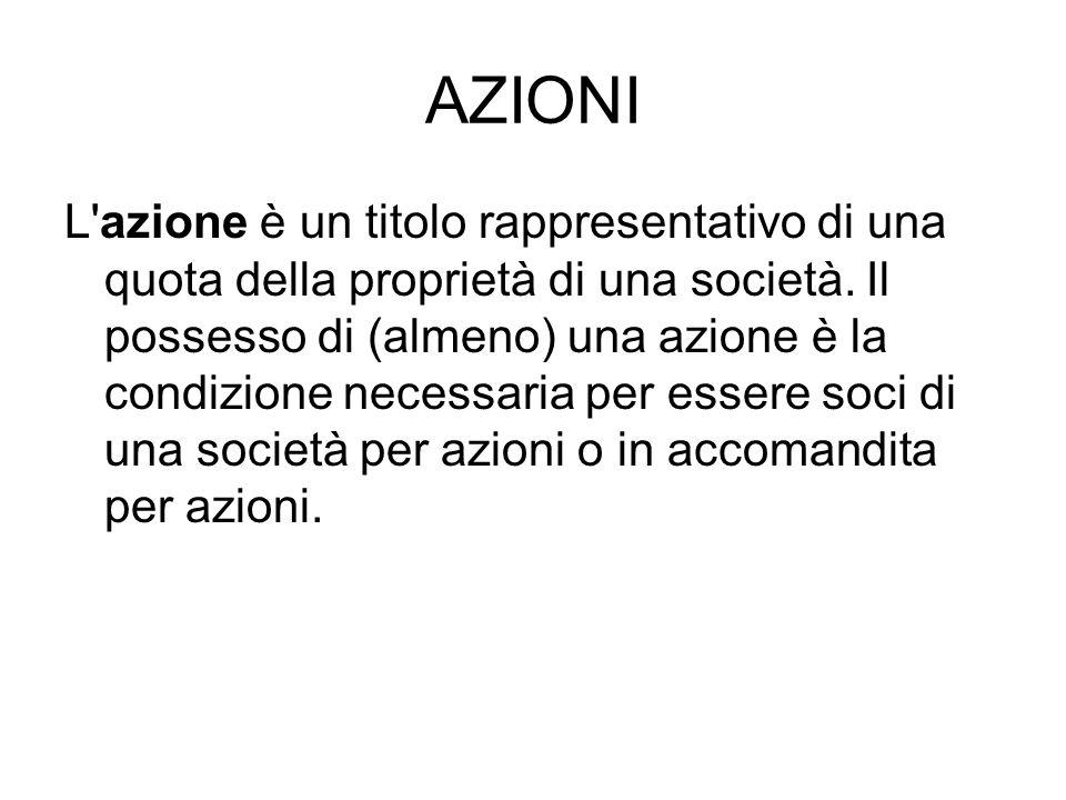 AZIONI L azione è un titolo rappresentativo di una quota della proprietà di una società.