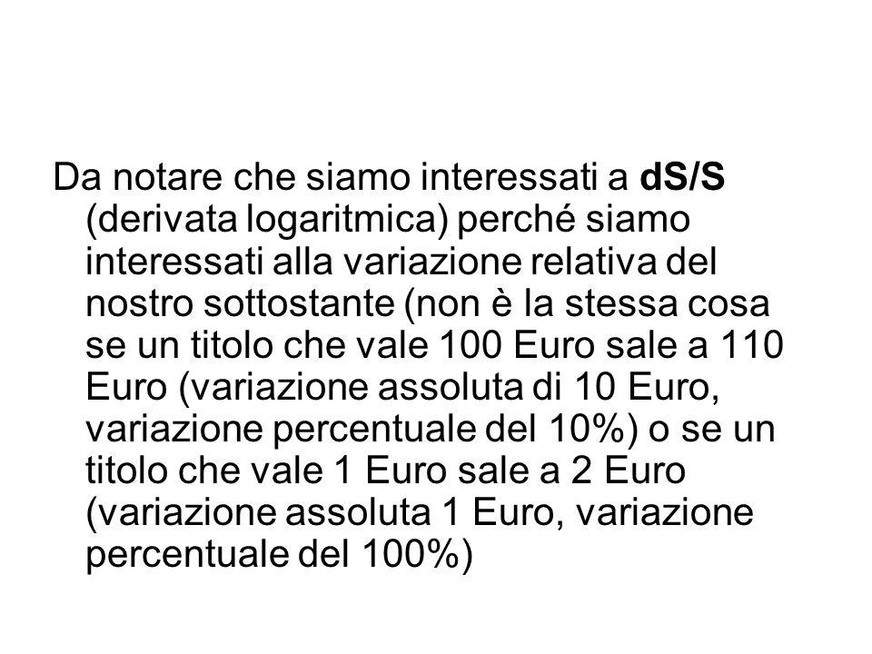 Da notare che siamo interessati a dS/S (derivata logaritmica) perché siamo interessati alla variazione relativa del nostro sottostante (non è la stessa cosa se un titolo che vale 100 Euro sale a 110 Euro (variazione assoluta di 10 Euro, variazione percentuale del 10%) o se un titolo che vale 1 Euro sale a 2 Euro (variazione assoluta 1 Euro, variazione percentuale del 100%)