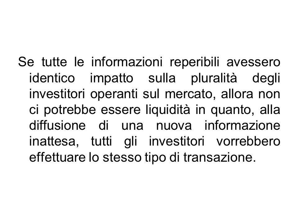 Se tutte le informazioni reperibili avessero identico impatto sulla pluralità degli investitori operanti sul mercato, allora non ci potrebbe essere liquidità in quanto, alla diffusione di una nuova informazione inattesa, tutti gli investitori vorrebbero effettuare lo stesso tipo di transazione.