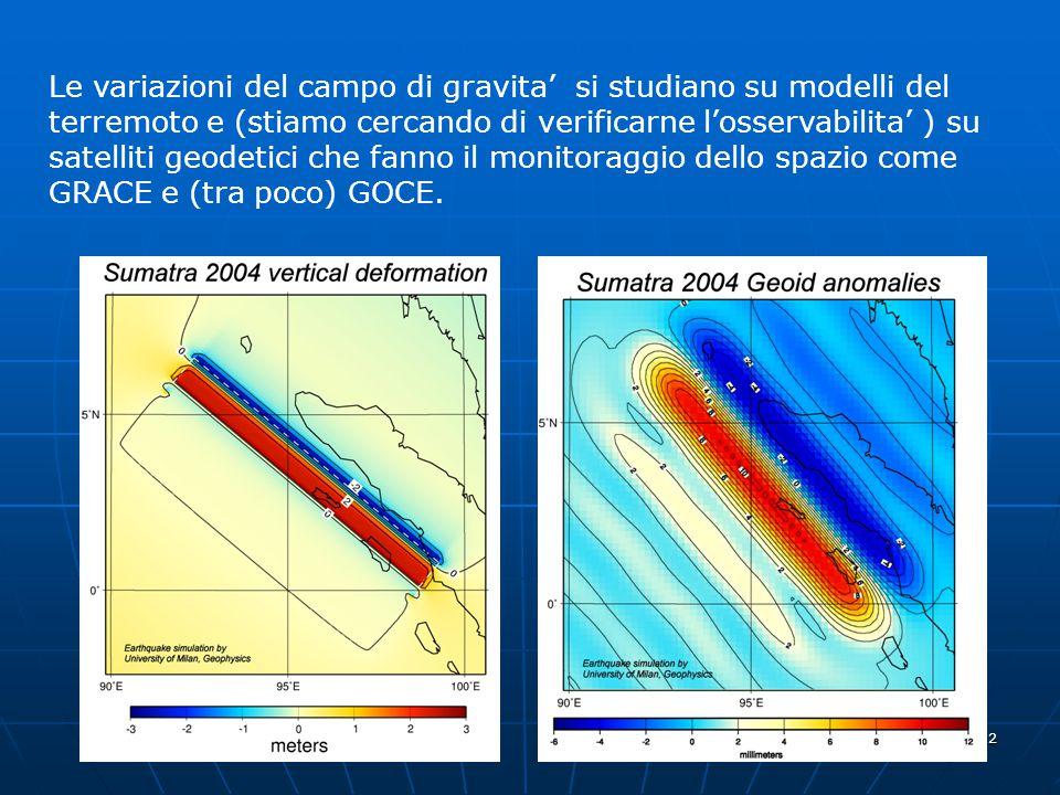 12 Le variazioni del campo di gravita' si studiano su modelli del terremoto e (stiamo cercando di verificarne l'osservabilita' ) su satelliti geodetici che fanno il monitoraggio dello spazio come GRACE e (tra poco) GOCE.