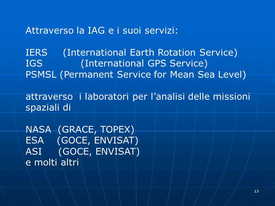 13 Attraverso la IAG e i suoi servizi: IERS (International Earth Rotation Service) IGS (International GPS Service) PSMSL (Permanent Service for Mean Sea Level) attraverso i laboratori per l'analisi delle missioni spaziali di NASA (GRACE, TOPEX) ESA (GOCE, ENVISAT) ASI (GOCE, ENVISAT) e molti altri