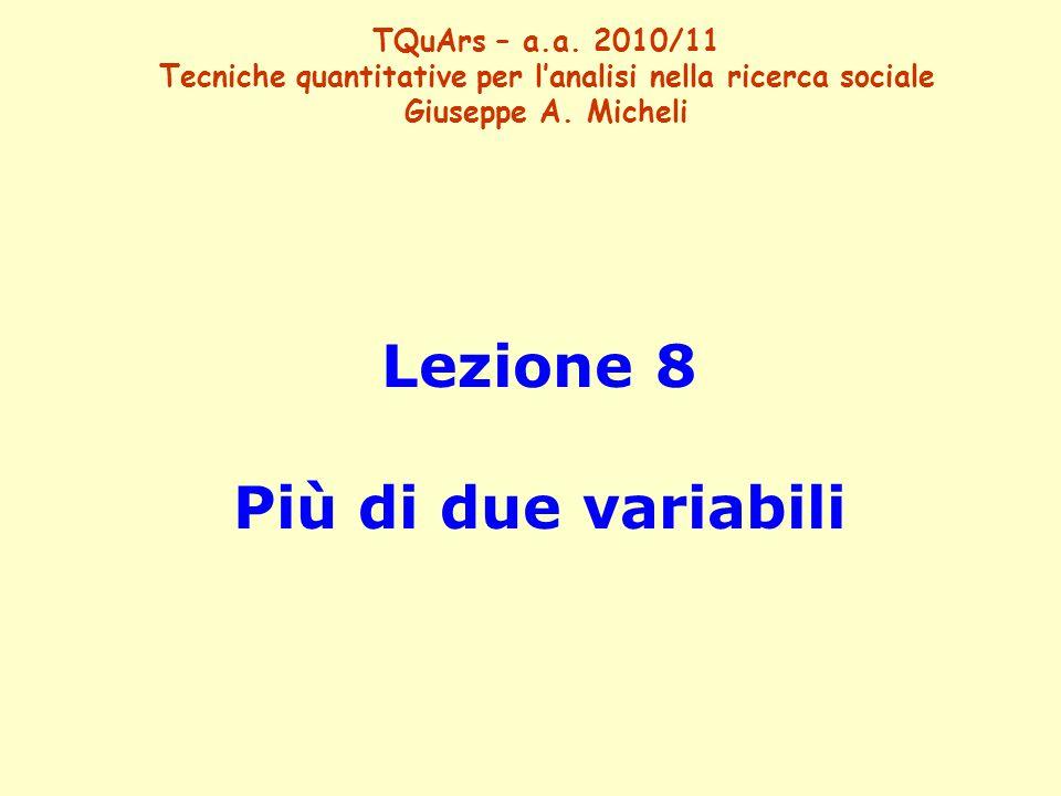 Lezione 8 Più di due variabili TQuArs – a.a. 2010/11 Tecniche quantitative per l'analisi nella ricerca sociale Giuseppe A. Micheli