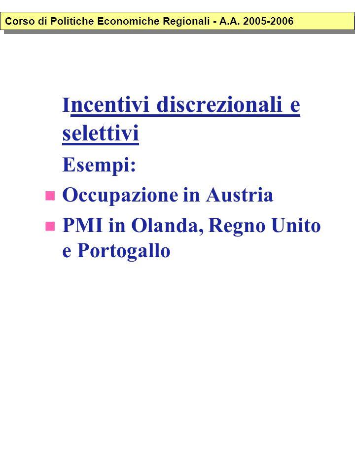 I ncentivi discrezionali e selettivi Esempi: Occupazione in Austria PMI in Olanda, Regno Unito e Portogallo Corso di Politiche Economiche Regionali -