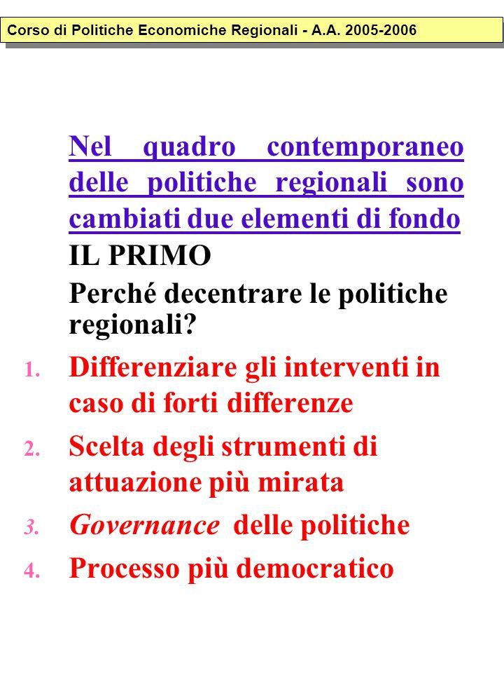 Nel quadro contemporaneo delle politiche regionali sono cambiati due elementi di fondo IL PRIMO Perché decentrare le politiche regionali? 1. Differenz