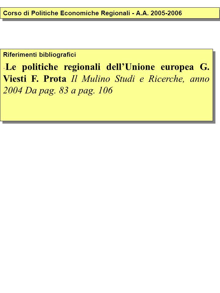Riferimenti bibliografici - Le politiche regionali dell'Unione europea G. Viesti F. Prota Il Mulino Studi e Ricerche, anno 2004 Da pag. 83 a pag. 106