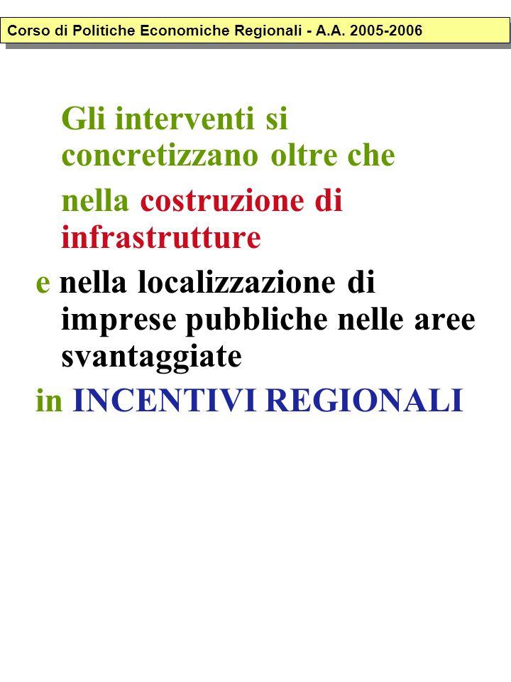 Gli interventi si concretizzano oltre che nella costruzione di infrastrutture e nella localizzazione di imprese pubbliche nelle aree svantaggiate in INCENTIVI REGIONALI Corso di Politiche Economiche Regionali - A.A.