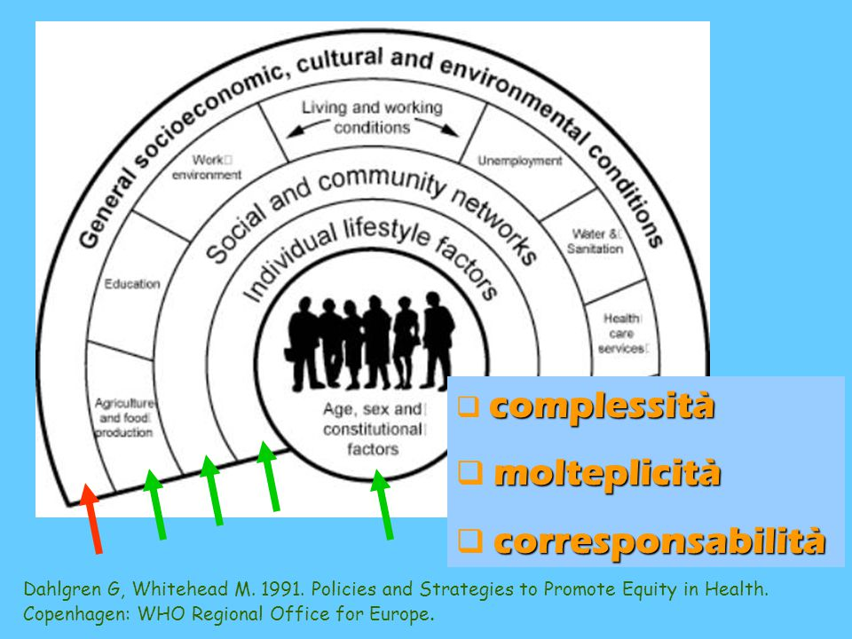 Dahlgren G, Whitehead M. 1991. Policies and Strategies to Promote Equity in Health. Copenhagen: WHO Regional Office for Europe. c cc complessità m