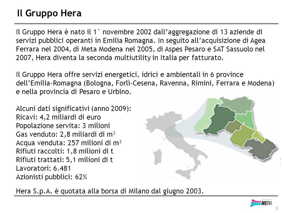 2 Il Gruppo Hera Il Gruppo Hera è nato il 1° novembre 2002 dall'aggregazione di 13 aziende di servizi pubblici operanti in Emilia Romagna. In seguito
