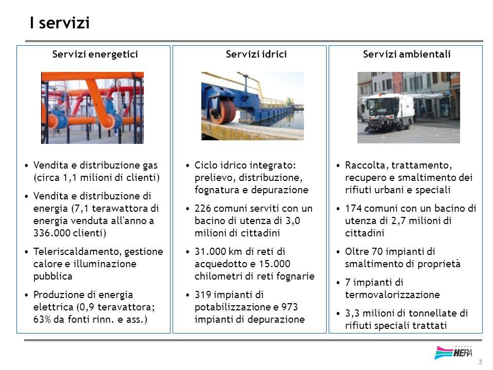 3 I servizi Servizi energetici Vendita e distribuzione gas (circa 1,1 milioni di clienti) Vendita e distribuzione di energia (7,1 terawattora di energ