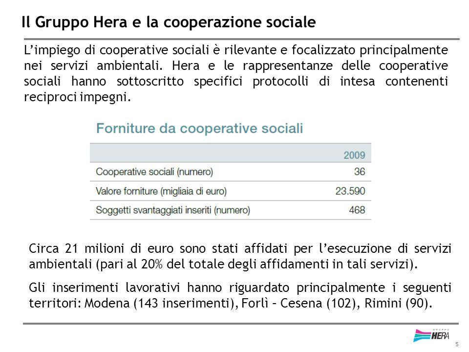 5 Il Gruppo Hera e la cooperazione sociale L'impiego di cooperative sociali è rilevante e focalizzato principalmente nei servizi ambientali. Hera e le