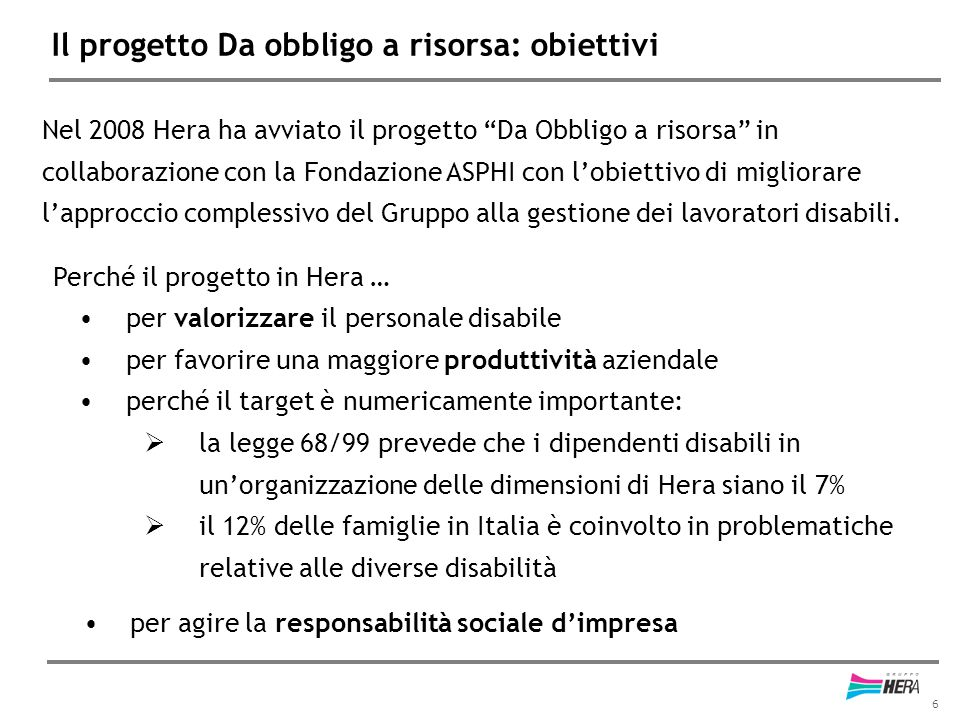 6 Il progetto Da obbligo a risorsa: obiettivi Nel 2008 Hera ha avviato il progetto Da Obbligo a risorsa in collaborazione con la Fondazione ASPHI con l'obiettivo di migliorare l'approccio complessivo del Gruppo alla gestione dei lavoratori disabili.