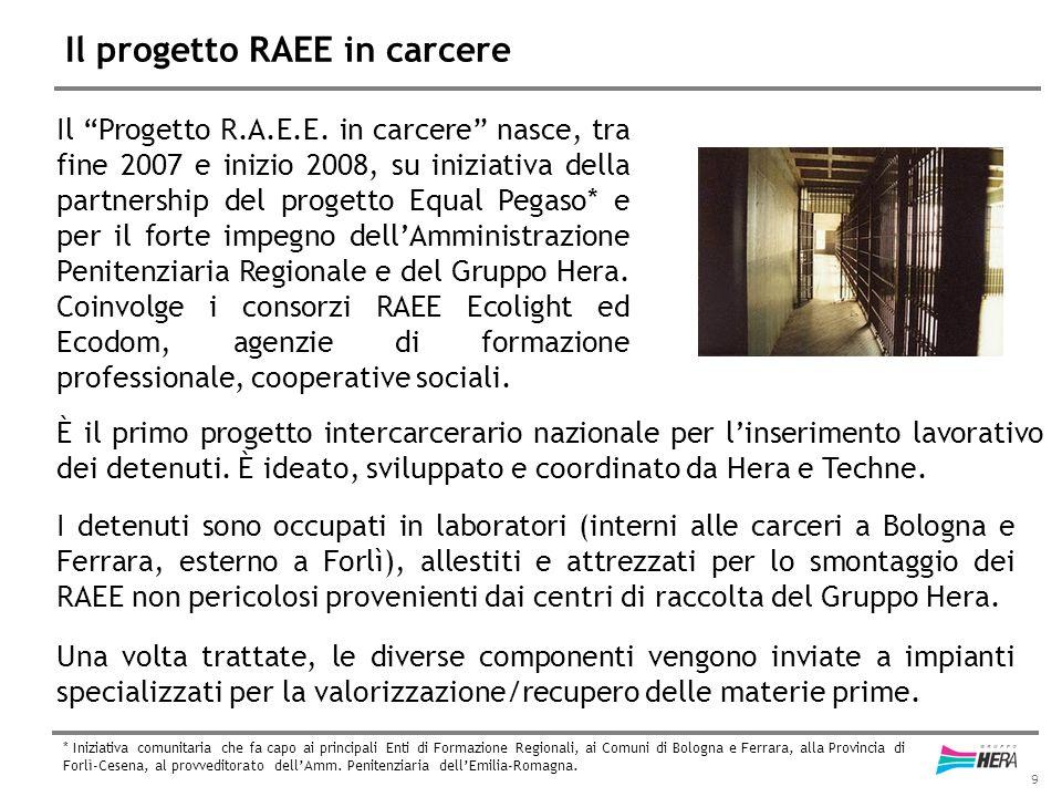 """9 Il progetto RAEE in carcere Il """"Progetto R.A.E.E. in carcere"""" nasce, tra fine 2007 e inizio 2008, su iniziativa della partnership del progetto Equal"""