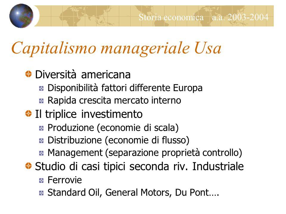 Storia economica a.a. 2003-2004 Capitalismo manageriale Usa Diversità americana Disponibilità fattori differente Europa Rapida crescita mercato intern