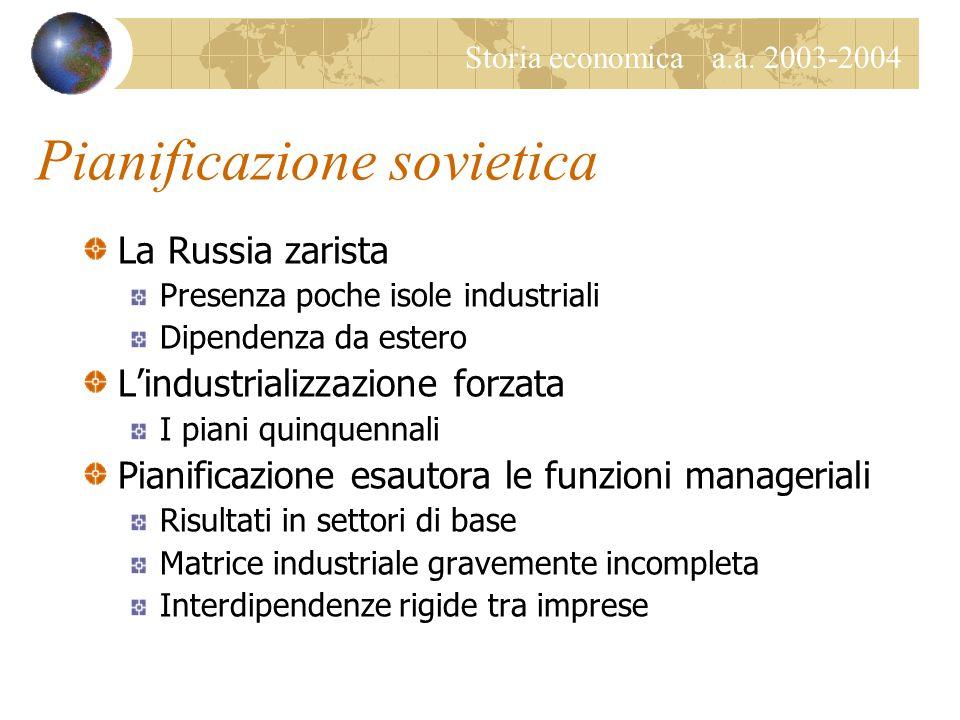 Storia economica a.a. 2003-2004 Pianificazione sovietica La Russia zarista Presenza poche isole industriali Dipendenza da estero L'industrializzazione