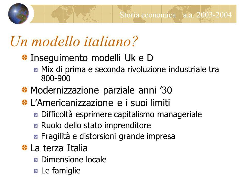 Storia economica a.a. 2003-2004 Un modello italiano? Inseguimento modelli Uk e D Mix di prima e seconda rivoluzione industriale tra 800-900 Modernizza