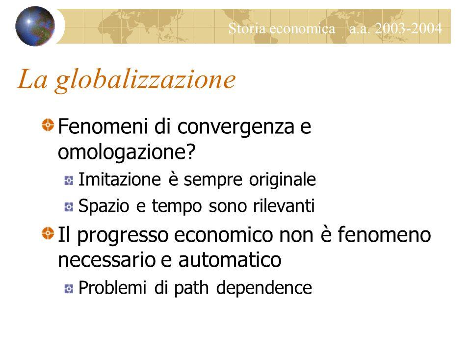 Storia economica a.a. 2003-2004 La globalizzazione Fenomeni di convergenza e omologazione? Imitazione è sempre originale Spazio e tempo sono rilevanti