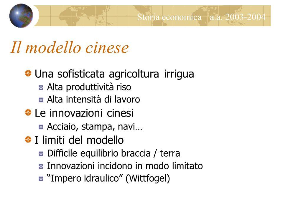 Storia economica a.a. 2003-2004 Il modello cinese Una sofisticata agricoltura irrigua Alta produttività riso Alta intensità di lavoro Le innovazioni c