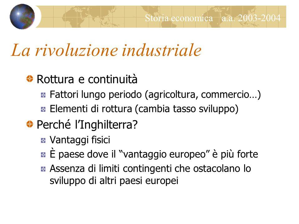 Storia economica a.a. 2003-2004 La rivoluzione industriale Rottura e continuità Fattori lungo periodo (agricoltura, commercio…) Elementi di rottura (c