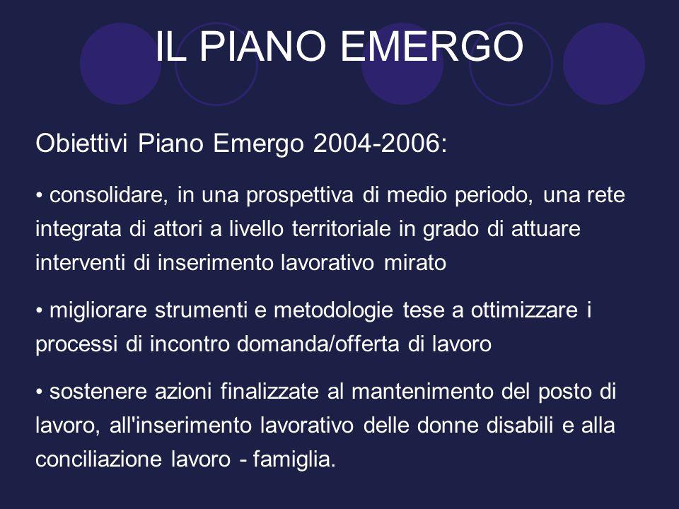 Obiettivi Piano Emergo 2004-2006: consolidare, in una prospettiva di medio periodo, una rete integrata di attori a livello territoriale in grado di at