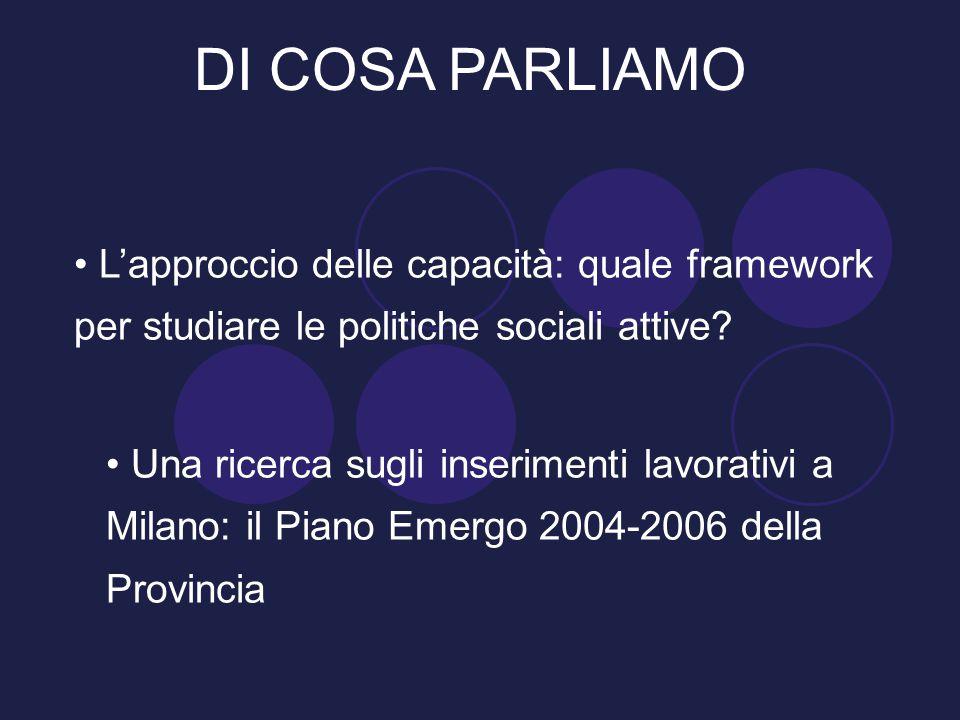 Una ricerca sugli inserimenti lavorativi a Milano: il Piano Emergo 2004-2006 della Provincia DI COSA PARLIAMO L'approccio delle capacità: quale framew