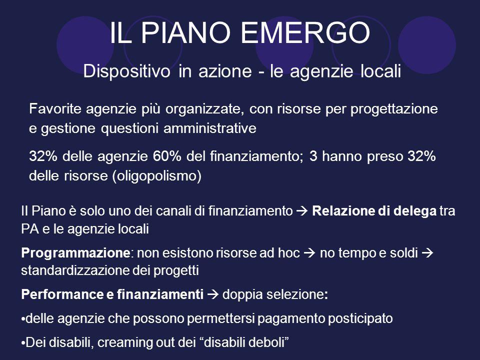 IL PIANO EMERGO Dispositivo in azione - le agenzie locali Favorite agenzie più organizzate, con risorse per progettazione e gestione questioni amminis