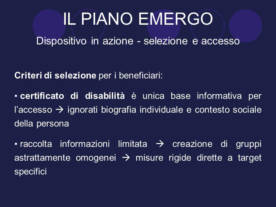 Criteri di selezione per i beneficiari: certificato di disabilità è unica base informativa per l'accesso  ignorati biografia individuale e contesto s