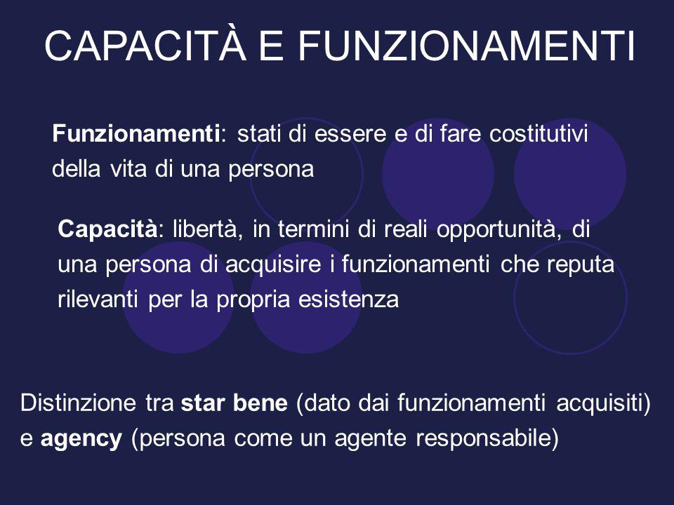 Funzionamenti: stati di essere e di fare costitutivi della vita di una persona Capacità: libertà, in termini di reali opportunità, di una persona di a