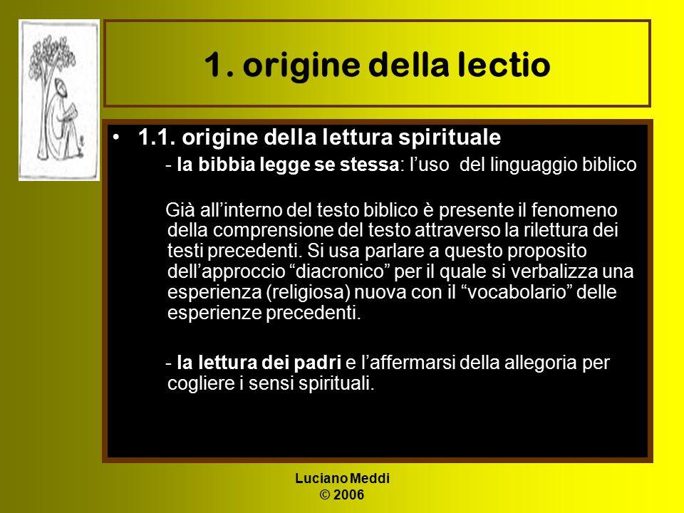 Luciano Meddi © 2006 1. origine della lectio 1.1. origine della lettura spirituale - la bibbia legge se stessa: l'uso del linguaggio biblico Già all'i