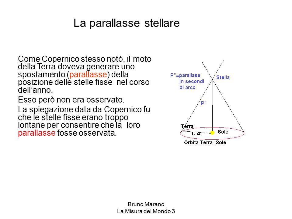 Bruno Marano La Misura del Mondo 3 La parallasse stellare Come Copernico stesso notò, il moto della Terra doveva generare uno spostamento (parallasse)