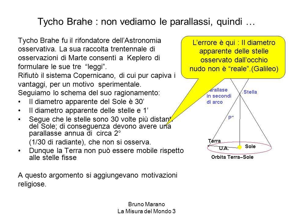Bruno Marano La Misura del Mondo 3 Tycho Brahe : non vediamo le parallassi, quindi … Tycho Brahe fu il rifondatore dell'Astronomia osservativa. La sua