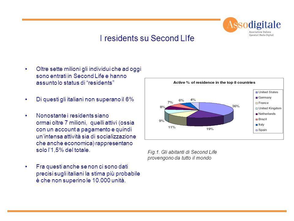 """I residents su Second LIfe Oltre sette milioni gli individui che ad oggi sono entrati in Second Life e hanno assunto lo status di """"residents"""" Di quest"""