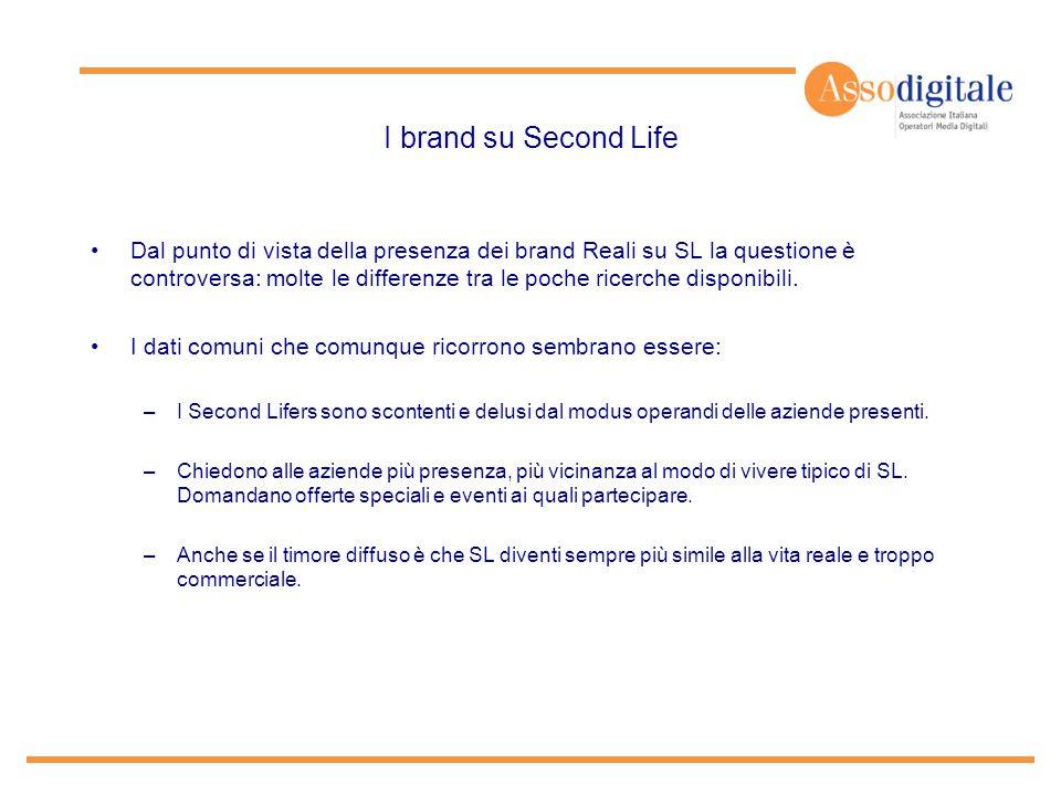 I brand su Second Life Dal punto di vista della presenza dei brand Reali su SL la questione è controversa: molte le differenze tra le poche ricerche d