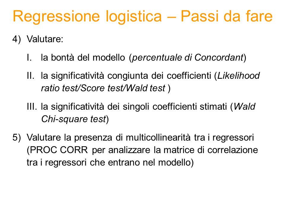 Regressione logistica – Passi da fare 4)Valutare: I.la bontà del modello (percentuale di Concordant) II.la significatività congiunta dei coefficienti (Likelihood ratio test/Score test/Wald test ) III.la significatività dei singoli coefficienti stimati (Wald Chi-square test) 5)Valutare la presenza di multicollinearità tra i regressori (PROC CORR per analizzare la matrice di correlazione tra i regressori che entrano nel modello)