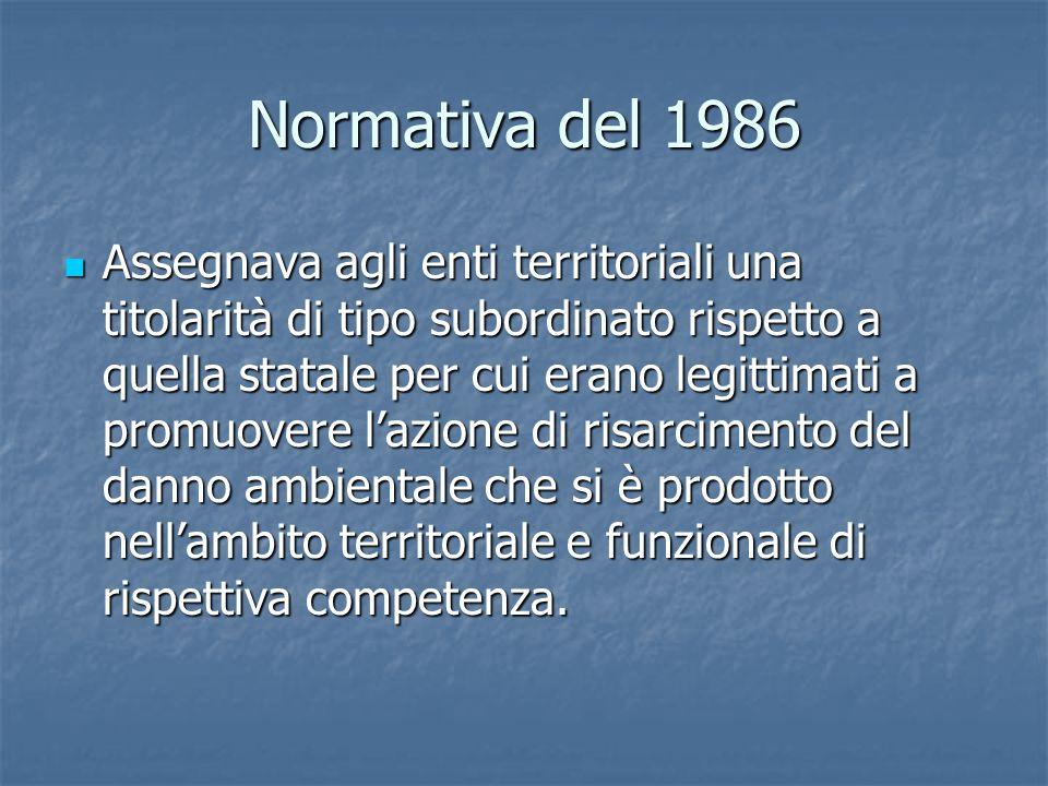 Normativa del 1986 Assegnava agli enti territoriali una titolarità di tipo subordinato rispetto a quella statale per cui erano legittimati a promuovere l'azione di risarcimento del danno ambientale che si è prodotto nell'ambito territoriale e funzionale di rispettiva competenza.