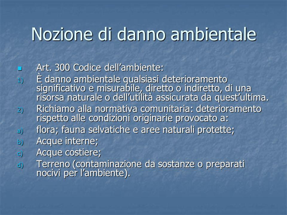 Nozione di danno ambientale Art.300 Codice dell'ambiente: Art.