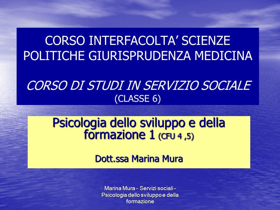Marina Mura - Servizi sociali - Psicologia dello sviluppo e della formazione Psicologia dello sviluppo e della formazione giornoOraAula Marzolunedì1017/4 ore 3116.00 - 18.001/aud.