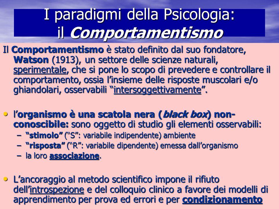 Marina Mura - Servizi sociali - Psicologia dello sviluppo e della formazione I paradigmi della Psicologia: il Comportamentismo Il Comportamentismo è s