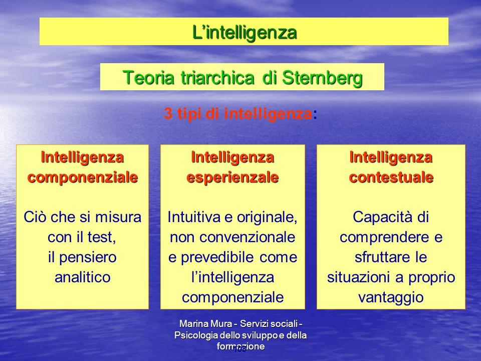 Marina Mura - Servizi sociali - Psicologia dello sviluppo e della formazione 105 Intelligenza componenziale Ciò che si misura con il test, il pensiero analiticoIntelligenzaesperienzale Intuitiva e originale, non convenzionale e prevedibile come l'intelligenza componenzialeIntelligenzacontestuale Capacità di comprendere e sfruttare le situazioni a proprio vantaggio 3 tipi di intelligenza: Teoria triarchica di Sternberg L'intelligenza