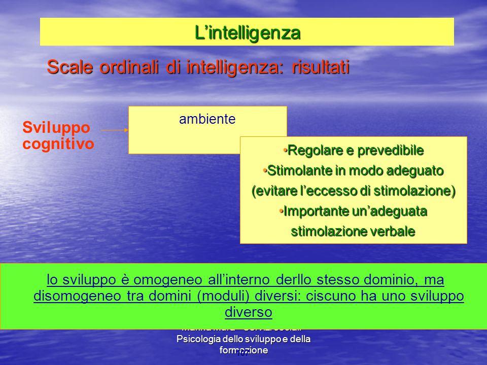 Marina Mura - Servizi sociali - Psicologia dello sviluppo e della formazione 107 ambiente Regolare e prevedibileRegolare e prevedibile Stimolante in m