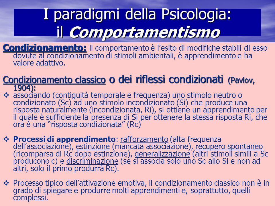 Marina Mura - Servizi sociali - Psicologia dello sviluppo e della formazione I paradigmi della Psicologia: il Comportamentismo Condizionamento: Condiz