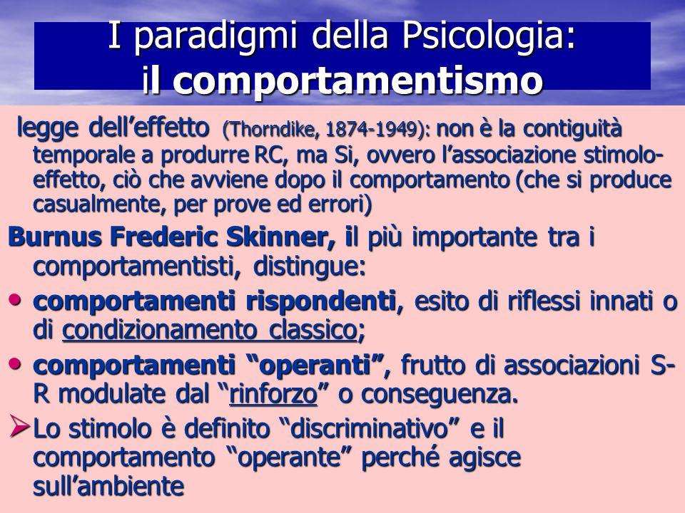 Marina Mura - Servizi sociali - Psicologia dello sviluppo e della formazione I paradigmi della Psicologia: il comportamentismo legge dell'effetto (Tho