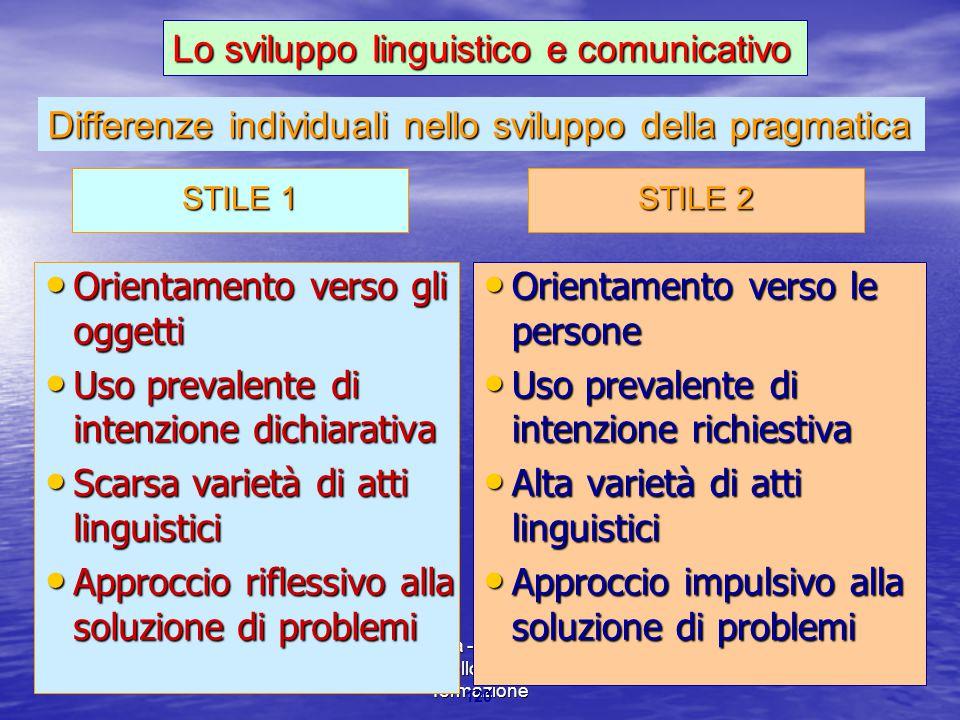 Marina Mura - Servizi sociali - Psicologia dello sviluppo e della formazione 120 Differenze individuali nello sviluppo della pragmatica Orientamento v