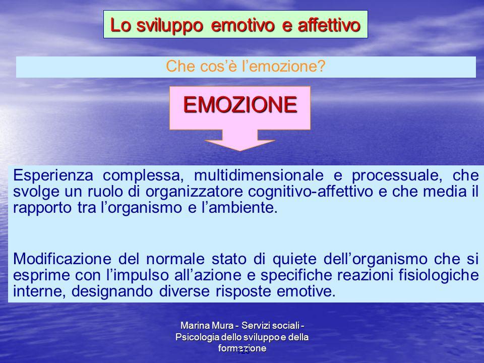 Marina Mura - Servizi sociali - Psicologia dello sviluppo e della formazione 123 EMOZIONE Esperienza complessa, multidimensionale e processuale, che s