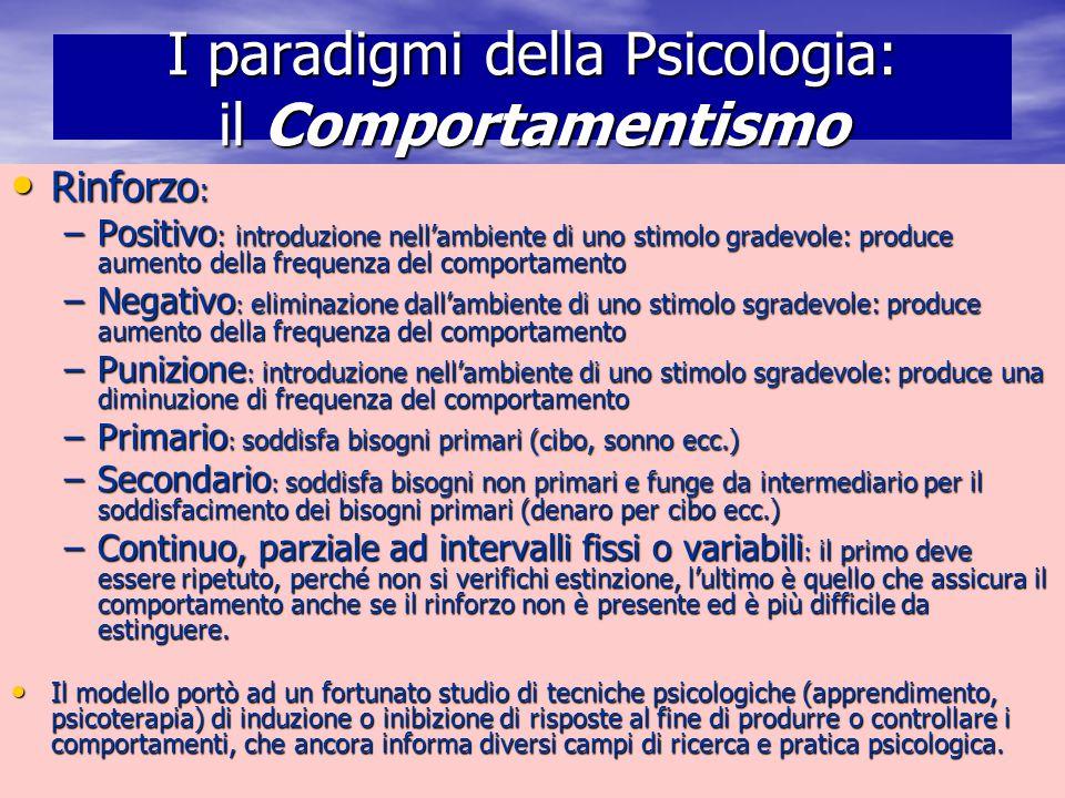 Marina Mura - Servizi sociali - Psicologia dello sviluppo e della formazione I paradigmi della Psicologia: il Comportamentismo Rinforzo : Rinforzo : –