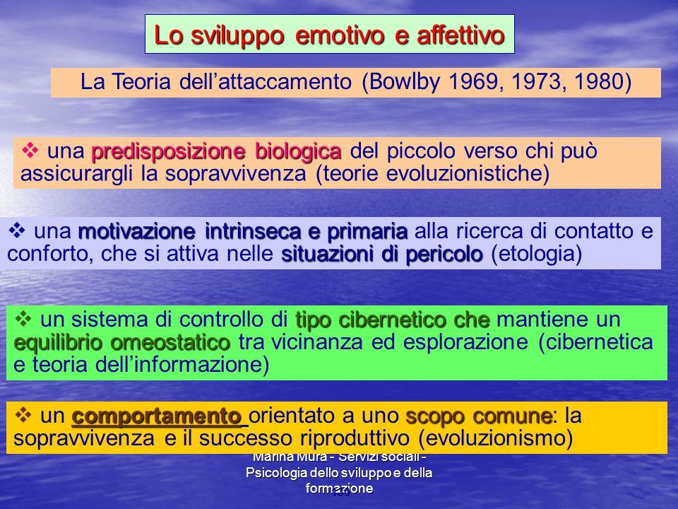 Marina Mura - Servizi sociali - Psicologia dello sviluppo e della formazione 130 La Teoria dell'attaccamento ( Bowlby 1969, 1973, 1980) predisposizion