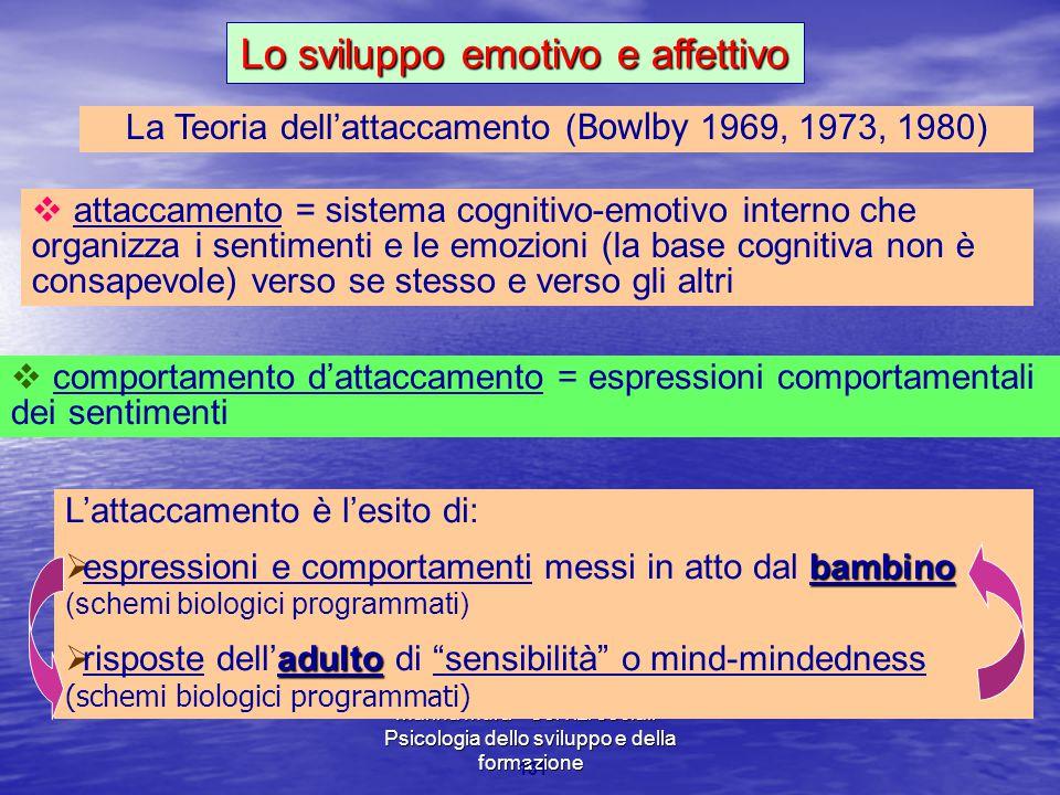 Marina Mura - Servizi sociali - Psicologia dello sviluppo e della formazione 131 La Teoria dell'attaccamento ( Bowlby 1969, 1973, 1980)  attaccamento = sistema cognitivo-emotivo interno che organizza i sentimenti e le emozioni (la base cognitiva non è consapevole) verso se stesso e verso gli altri  comportamento d'attaccamento = espressioni comportamentali dei sentimenti Lo sviluppo emotivo e affettivo L'attaccamento è l'esito di: bambino  espressioni e comportamenti messi in atto dal bambino (schemi biologici programmati) adulto  risposte dell'adulto di sensibilità o mind-mindedness (schemi biologici programmati)
